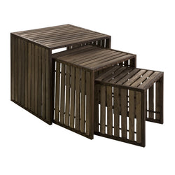 Iron and Wood Nesting Tables - Set of 3