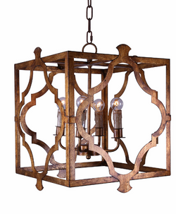 Isla Square and Geometric Copper Pendant Chandelier
