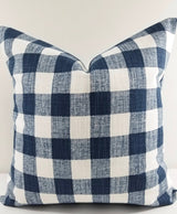 Italian Denim Blue & White Buffalo Plaid Print Farmhouse Pillow Cover
