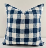 Italian Denim Blue & White Buffalo Plaid Print Farmhouse Pillow Cover Farmhouse Sham
