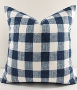 Farmhouse Italian Denim Blue & White Buffalo Plaid Print Pillow Cover