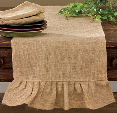 Jute Burlap Ruffle Table Runner