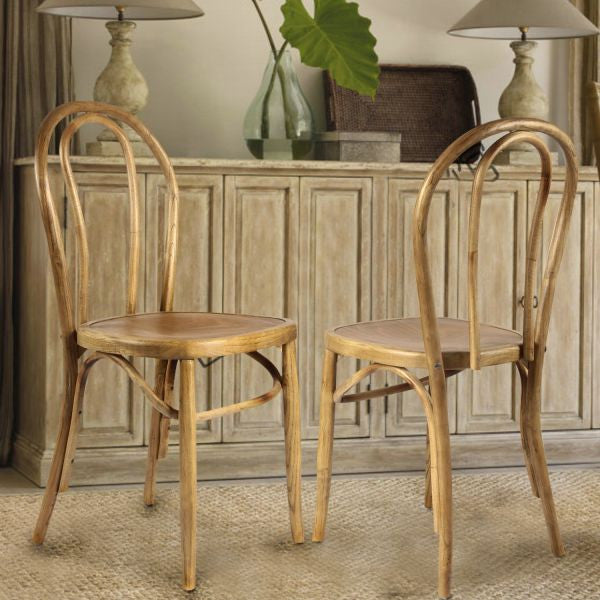 Light brown elm wood vintage style dining chairs set of 2 modern rustic home - Reasons choosing vintage style furniture ...