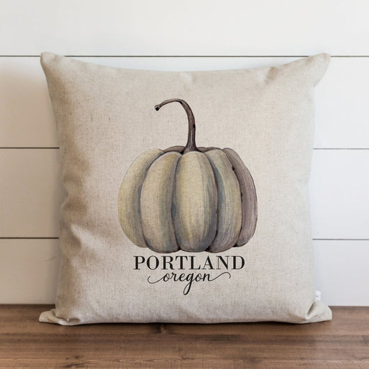 Light Green Watercolor Pumpkin Custom City and State Pillow Cover