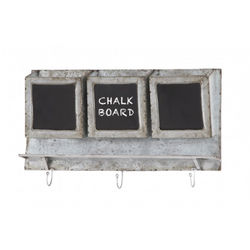 Metal + Chalkboard Wall Shelf with Hooks