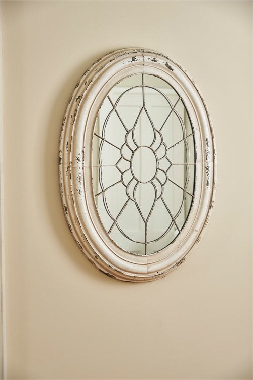 Metal Window Frame Mirror - Aged Cream