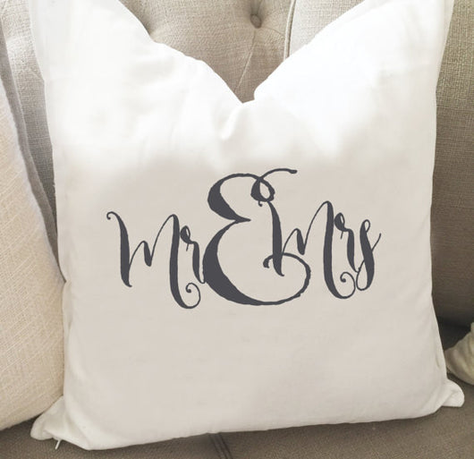 Mr and Mrs Throw Pillow Cover