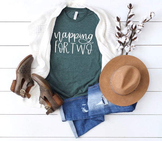 Napping For Two Heather Green T-Shirt