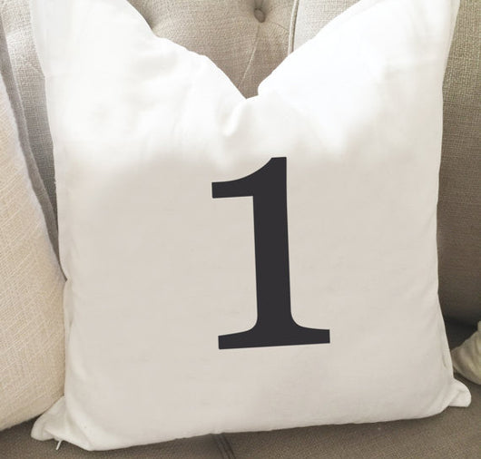 Numbered Throw Pillow Cover 0-10