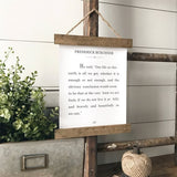 """One life on this earth is all we get"" Frederick Buechner Quote Hanging farmhouse sign decor Canvas Poster"