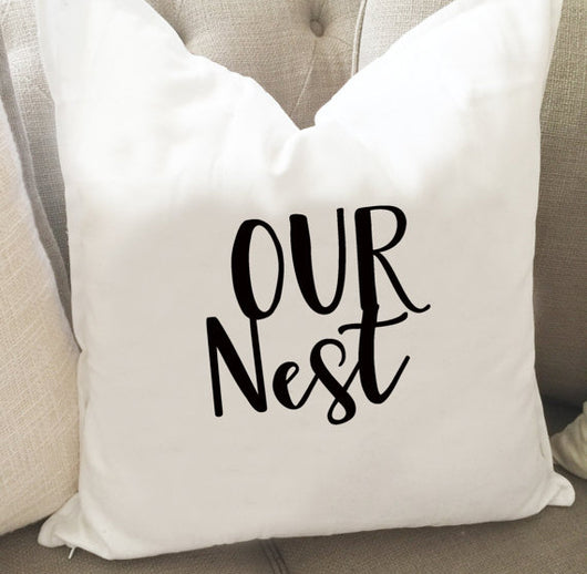 Our Nest Throw Pillow Cover