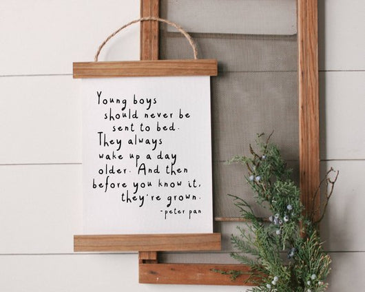 Peter Pan Quote rustic farmhouse sign decor Canvas Poster