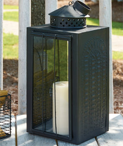 Oversized Punched Black Metal Lantern