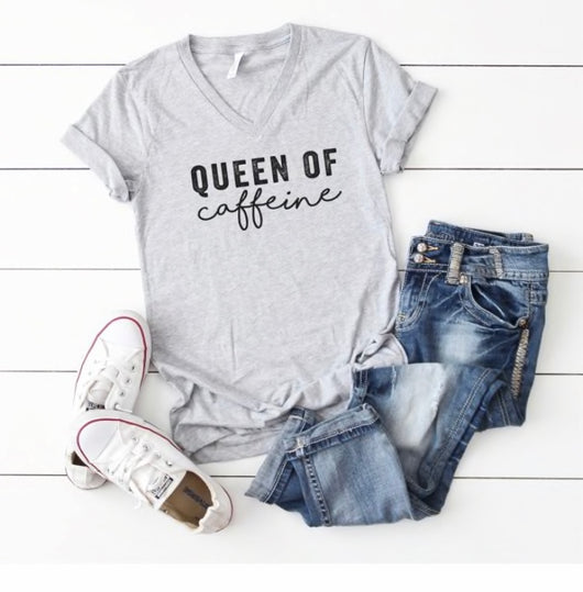 Queen of Caffeine V-Neck T-Shirt