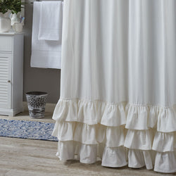 RUFFLED SHOWER CURTAIN farmhouse