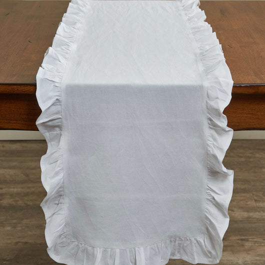 farmhouse wedding RUFFLE TABLE RUNNER - 72