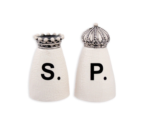 Rae Dunn Crown Salt + Pepper Shakers with Gift Box