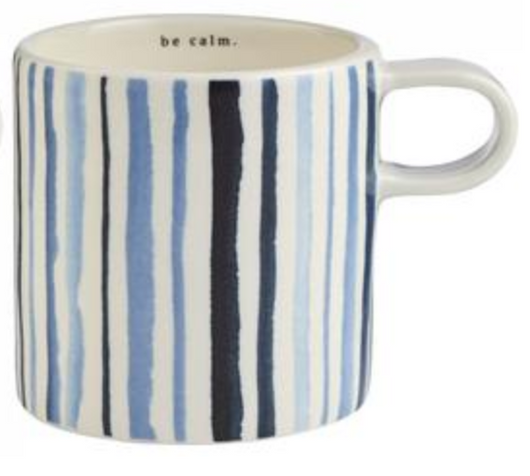 Rae Dunn Indigo Mug - Blue Watercolor Stripe