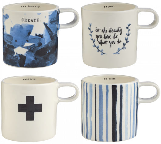 Rae Dunn Indigo Mugs - Set of 4