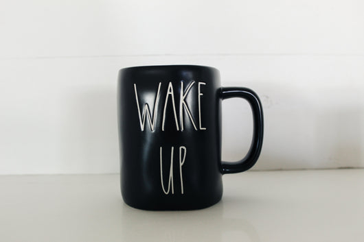 Rae Dunn Limited Edition Black Matte WAKE UP Elongated Mug - Only 1 available