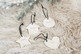 Rae Dunn Red Stamped Ornaments with Leather Cord, Set of 4 Merry Believe Joy Blessed