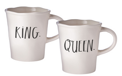Rae Dunn Stem Print Cafe Mugs King/Queen - Set of 2