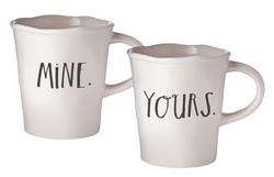 Rae Dunn Stem Print Cafe Mugs Mine/Yours - Set of 2