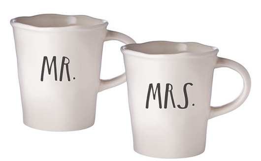Rae Dunn Stem Print Cafe Mugs Mr/Mrs - Set of 2