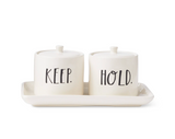 "Rae Dunn Stem Print ""Keep"" and ""Hold"" Vanity Set"