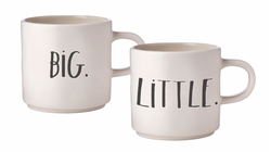 Rae Dunn Stem Print Mugs Big/Little - Set of 2