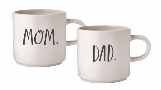 Rae Dunn Stem Print Mugs Mom/Dad - Set of 2