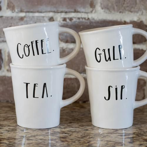 Rae Dunn Stem Print cafe mugs