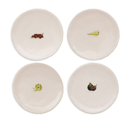 Rae Dunn Stitched Fruit Plates, Set of 4