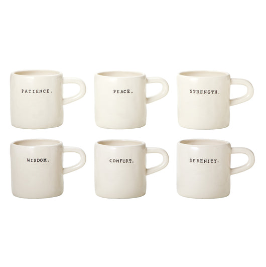 Rae Dunn Word Stamps Mugs - Set of 6
