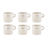 "Rae Dunn ""Zen"" Word Mugs, Set of 6"