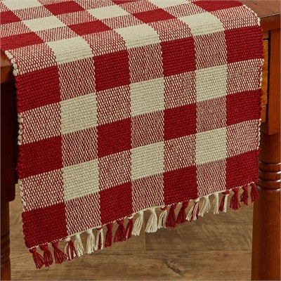 Red Check Yarn Table Runner - 54