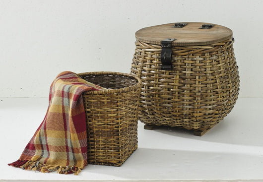 Round Gray Baskets with Handles - Set of 2
