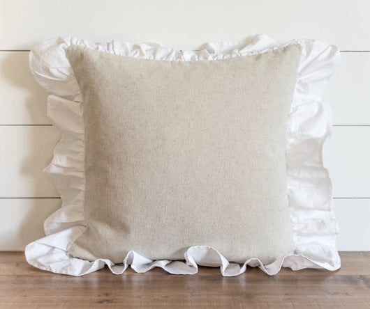 Ruffle Burlap 20 x 20 Pillow Cover