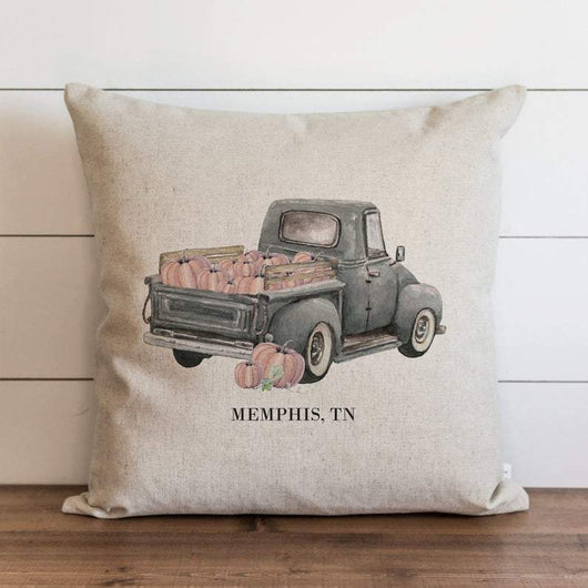 Rustic Pumpkin Truck Custom City and State Pillow Cover