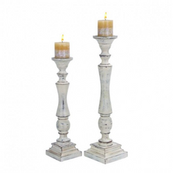 Set of 2 Antiqued White Candlesticks