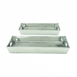 Set of 2 Stainless Steel Trays