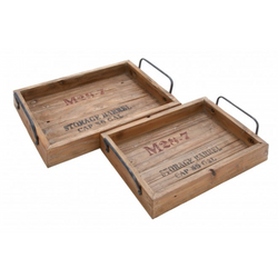 Set of 2 Vintage Storage Barrel Top Trays