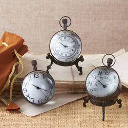 Set of 3 Antique Brass Ball Clocks