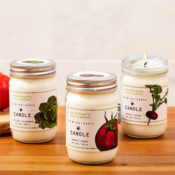 Set of 3 Farm to Table Mason Jar Herb Candles