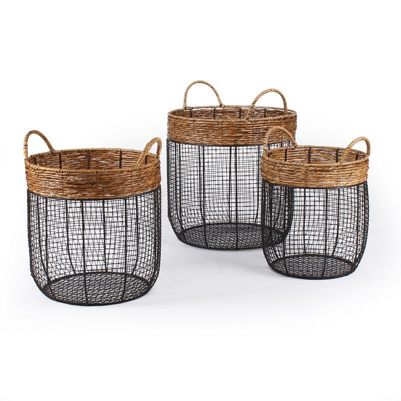Set Of 3 Round Wire And Straw Storage Baskets With Handle U2013 Modern Rustic  Home
