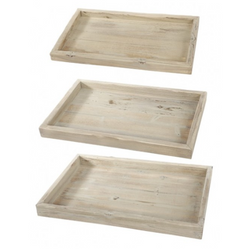 Set of 3 Weathered Wood Trays