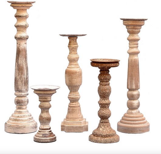 Set of 5 Sheffield Distressed Wood Candle Holders