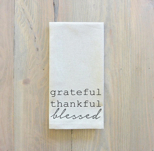 Set of 6 or 8 Grateful, Thankful, Blessed Napkins