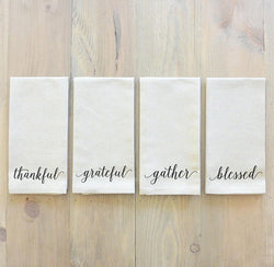 Set of 8 Thankful, Gather, Blessed, Grateful Napkin Set