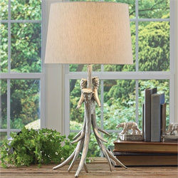 Silver Antler Lamp with Shade